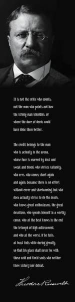 Wall Art - Digital Art - Roosevelt Man In The Arena Speech - Vertical Format by Daniel Hagerman