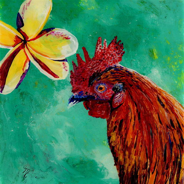 Rooster And Plumeria Art Print