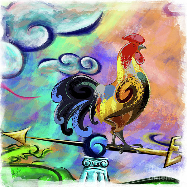 Wake Digital Art - Rooster At The Outpost by Peter Awax