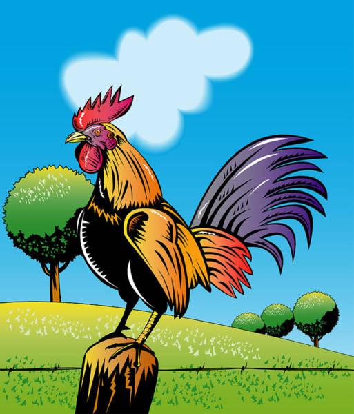 Fence Post Digital Art - Rooster Cockerel Cock Crowing Retro by Aloysius Patrimonio