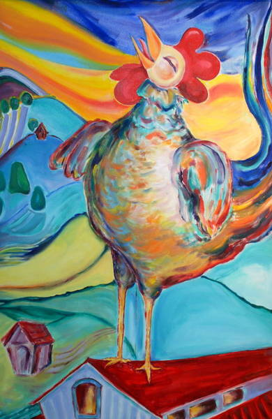 Arisen Painting - Rooster Crows -- Joy Arising by Gloria Avner