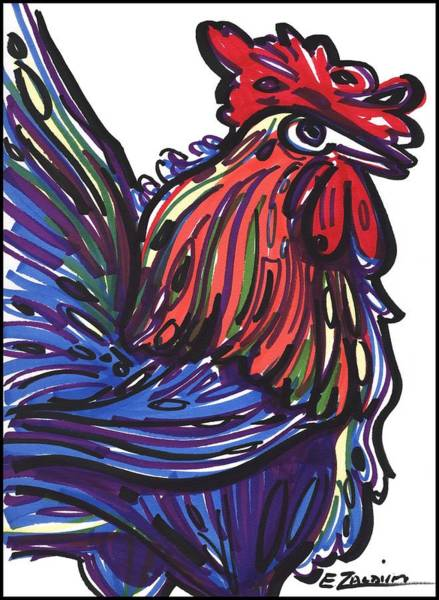 Drawing - Rooster by Enrique Zaldivar