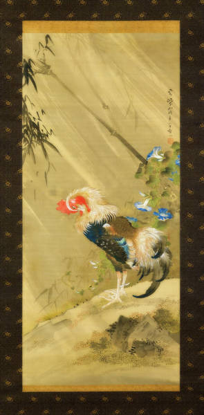 Wall Art - Painting - Rooster In A Storm by So Shizan