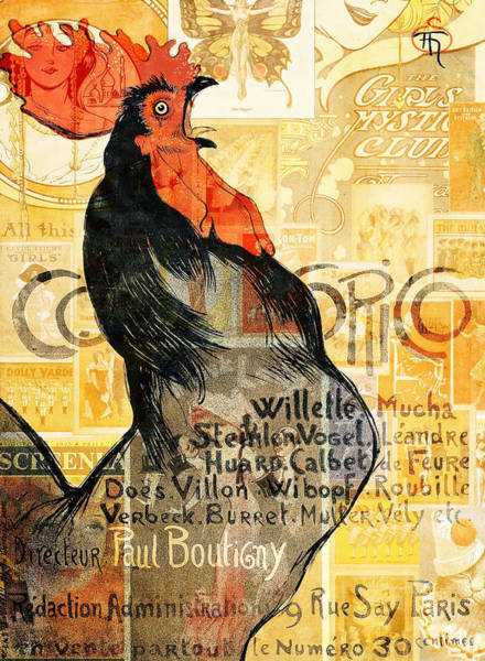 Vintage Poster Mixed Media - Rooster by Jacky Gerritsen
