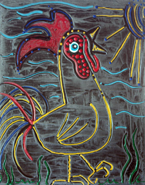 Wall Art - Painting - Rooster by Laura Barbosa