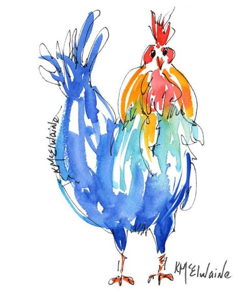 Painting - Rooster Stance by Kathleen McElwaine