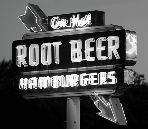 Photograph - Root Beer Neon B W 053118 by Rospotte Photography