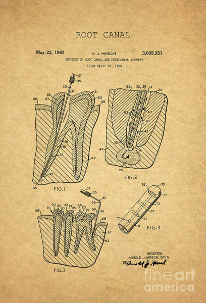 Wall Art - Digital Art - Root Canal Dental Treatment Patent 1960 1 by Nishanth Gopinathan