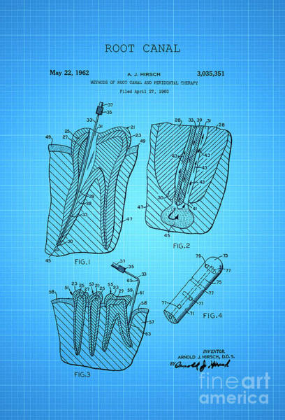 Wall Art - Digital Art - Root Canal Dental Treatment Patent 1960 2 by Nishanth Gopinathan