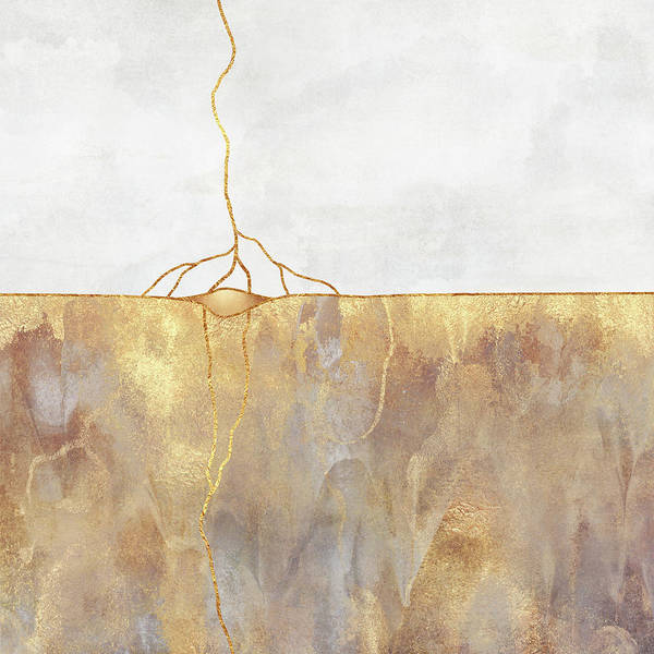 Gold Abstract Wall Art - Mixed Media - Roots by Elisabeth Fredriksson