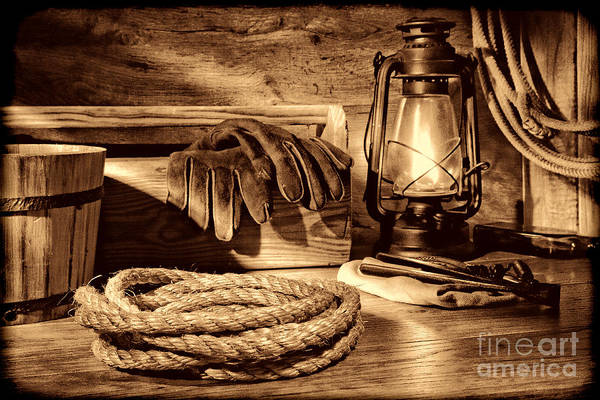 Photograph - Rope And Tools In A Barn by American West Legend By Olivier Le Queinec