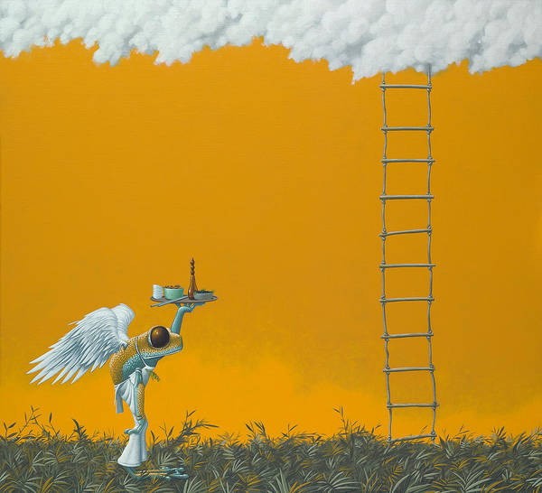Humour Painting - Rope Ladder by Jasper Oostland