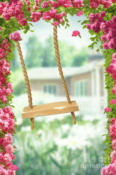 English Garden Photograph - Rope Swing by Amanda Elwell