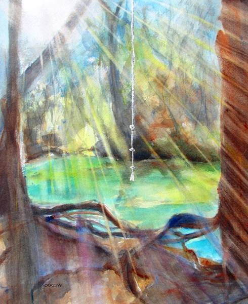 Atmospheric Painting - Rope Swing by Carlin Blahnik CarlinArtWatercolor