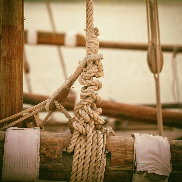 Photograph - Ropes And Lashings On A Sailing Boat by Paul Cowan