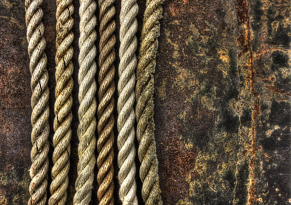Rusted Wall Art - Photograph - Ropes by Evelina Kremsdorf