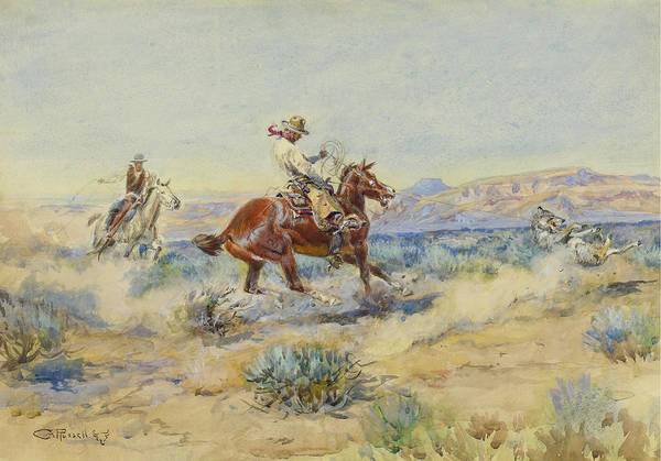 Drawing - Roping A Wolf by Charles Marion Russell