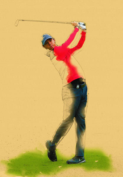 Rory Mcilroy Digital Art - Rory Mcilroy Of Northern Ireland Plays An Iron Shot by Don Kuing