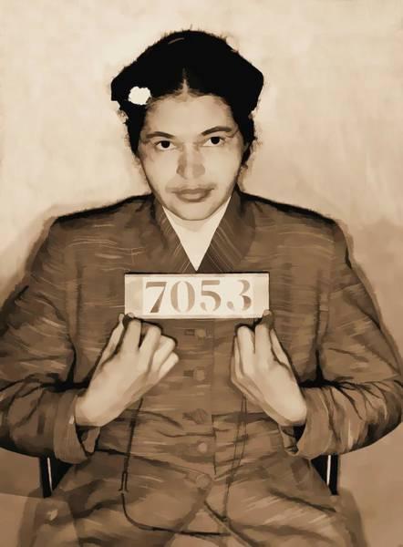 Democrat Mixed Media - Rosa Parks Mugshot by Dan Sproul