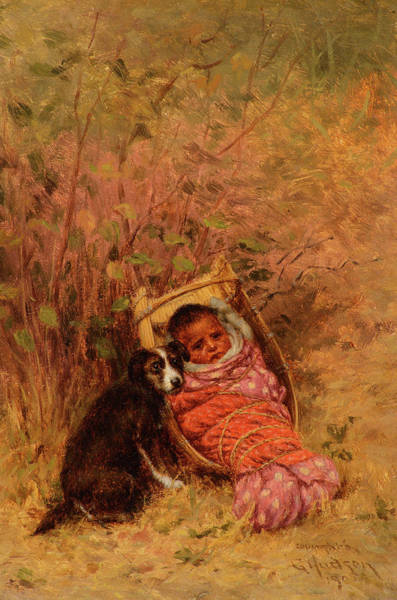 Wall Art - Painting - Rosa's Basket Baby In A Quilt by Grace Carpenter Hudson