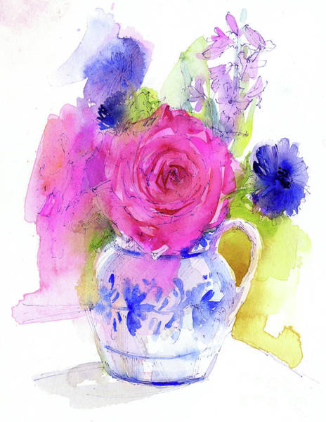 Blue Cornflower Painting - Rose And Cornflowers In Pitcher by John Keeling