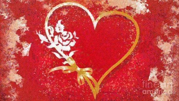 Painting - Rose And Heart Intertwined Fragmented In Thick Paint by Catherine Lott