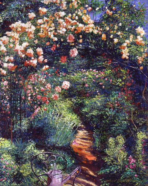 Arbor Wall Art - Painting - Rose Arbor Pathway by David Lloyd Glover