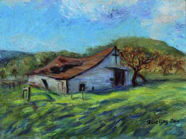 Painting - Rose Barn Margan Hill California Landscape 12 by Xueling Zou