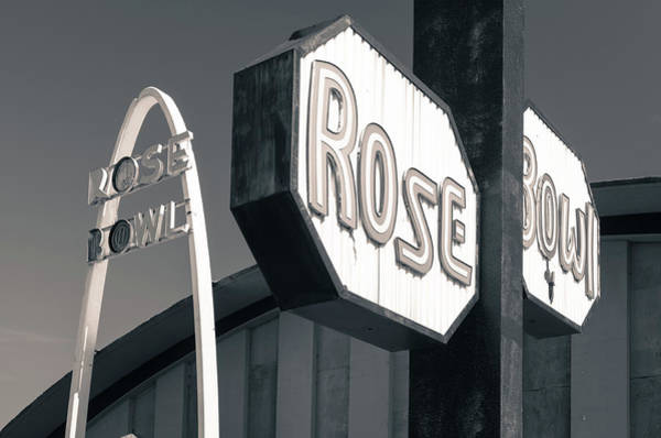Rose Bowl Photograph - Rose Bowl Tulsa - Icon Of Route 66 - Black And White by Gregory Ballos