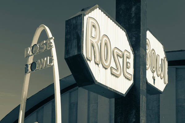 Rose Bowl Photograph - Rose Bowl Tulsa - Icon Of Route 66 - Sepia by Gregory Ballos
