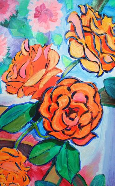 Painting - Rose Bush With Orange Flowers by Mike Jory