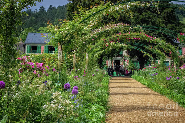 Claude Monet Photograph - Rose-covered Walkway To Monet's Home, Giverny by Liesl Walsh