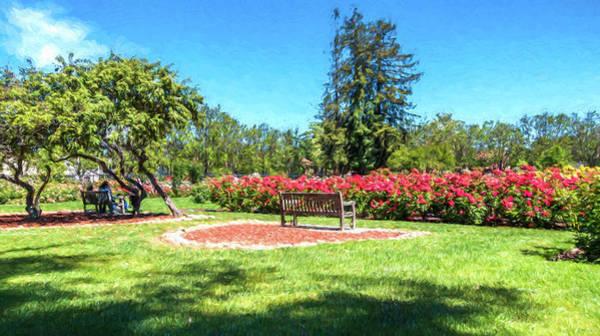 Park Bench Digital Art - Rose Garden Benches Impressionist Digital Painting by Randy Herring