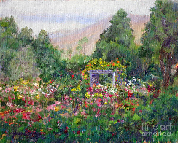 Painting - Rose Garden In Bloom by Joan Coffey