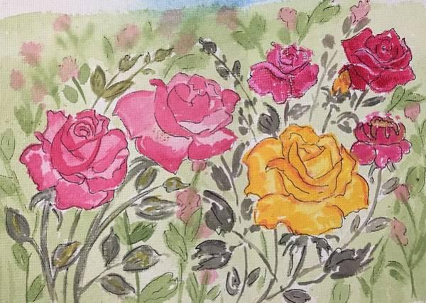 Wall Art - Drawing - Rose Garden by Pushpa Sharma