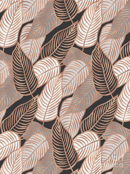 Rose Gold Jungle Leaves Art Print