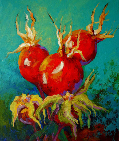 Daisy Wall Art - Painting - Rose Hips by Marion Rose
