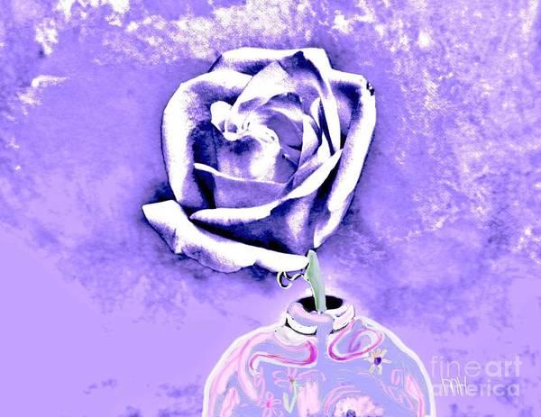 Purple Rose Digital Art - Rose In Creative Vase by Marsha Heiken