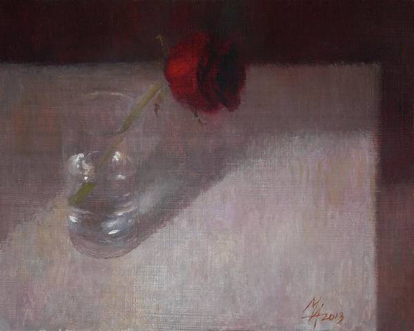Painting - Rose In Glass by Attila Meszlenyi