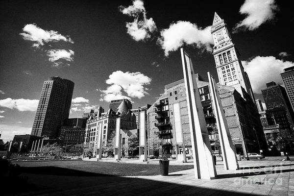 Wall Art - Photograph - rose kennedy greenway and custom house district of downtown Boston USA by Joe Fox