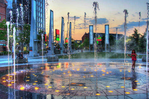 Photograph - Rose Kennedy Greenway Rings Fountain - Boston by Joann Vitali