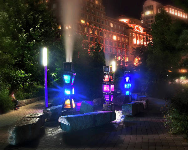 Photograph - Rose Kennedy Greenway Steam Sculpture Garden At Night by Joann Vitali