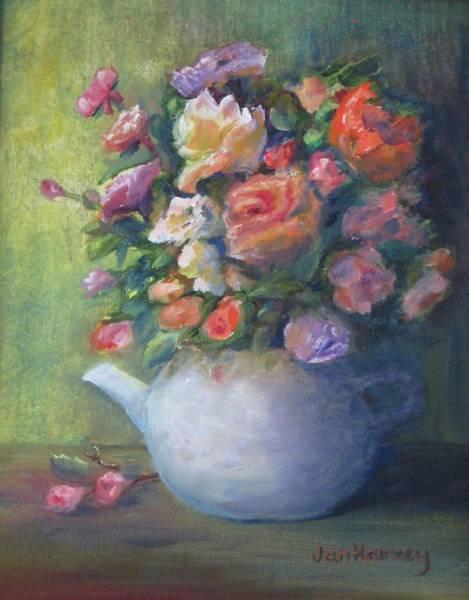 Wall Art - Painting - Rose Petal Tea Pot by Jan Harvey
