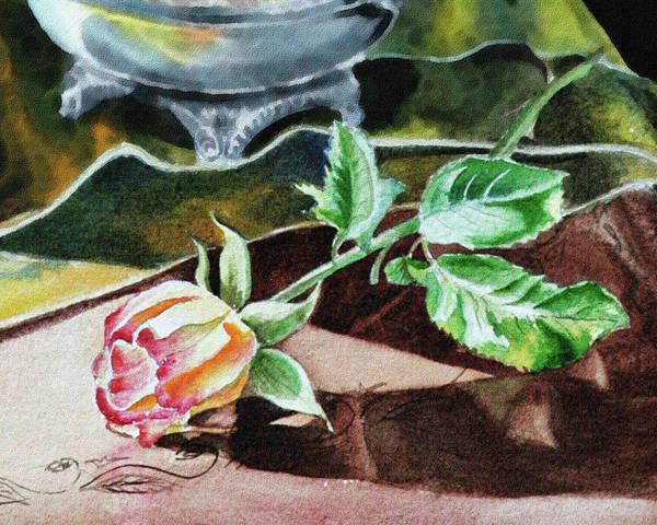Painting - Rose Still Life Watercolor Realism  by Irina Sztukowski