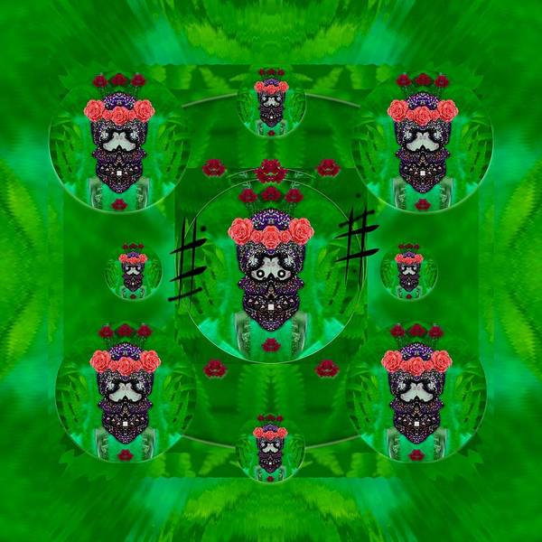Wall Art - Mixed Media - Rose Sugar Skull In Fern Garden by Pepita Selles