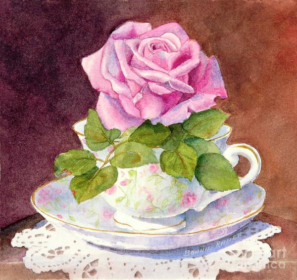 Teacup Painting - Rose Tea by Bonnie Rinier