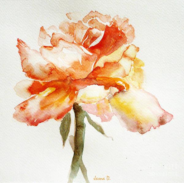 Single Rose Painting - Rose Yellow by Jasna Dragun