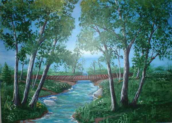 Dan Connor Wall Art - Painting - Roseanne And Dan Connor's River Bridge by Susan Michutka