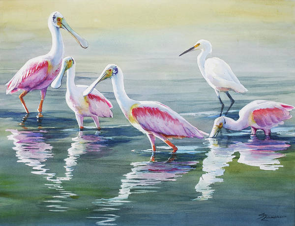 Wall Art - Painting - Roseate Spoonbills And A Friend by Sue Zimmermann