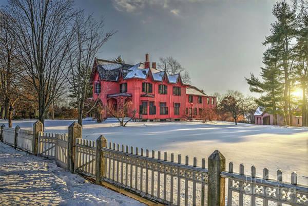 Snow Fence Digital Art - Roseland Cottage In Winter by Anne Carpenter